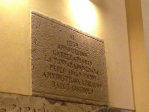 Plaque in the Stabilimento Florio speaks of the historic mattanza of 1859: 10,159 tuna were caught that year